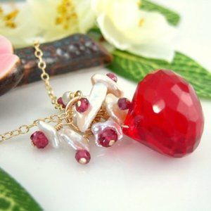 Candy apple red quartz keishi pearl necklace